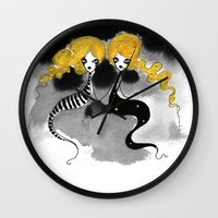 twins Wall Clocks featuring Twins by Dnzsea