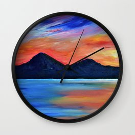 SUNSET AT MURLOUGH - Abstract Sky Oil Painting Wall Clock