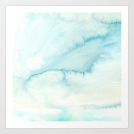 Abstract hand painted blue teal watercolor paint pattern Art Print