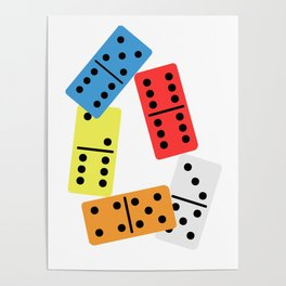 Colorful Domino Dominoes Tiles Puzzler Game Gift Poster