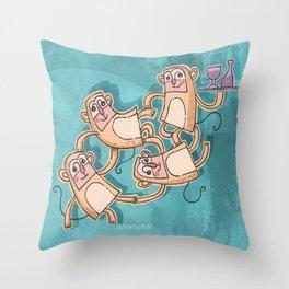 Funny Monkeys Throw Pillow