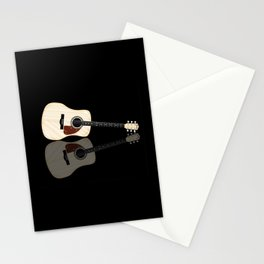 Pale Acoustic Guitar Reflection Stationery Cards