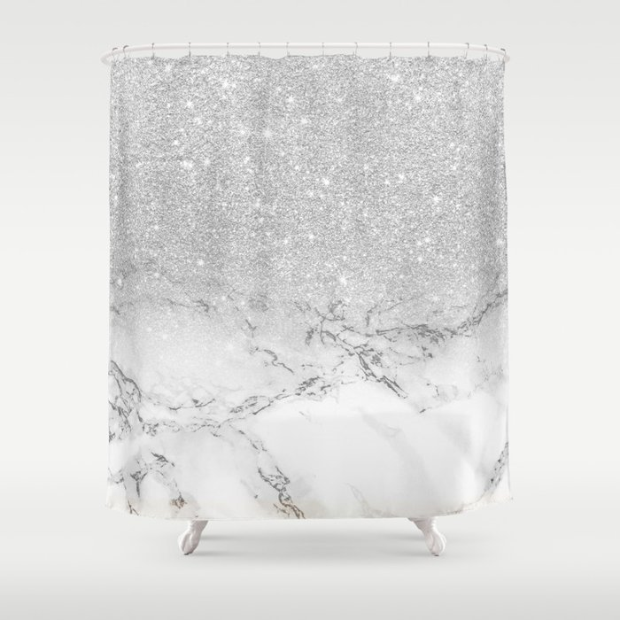 Modern faux grey silver glitter ombre white marble Shower Curtain