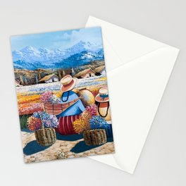 Peruvian Village Amid the Poppy and Calla Lily Fields in the Andes Mountains Stationery Cards