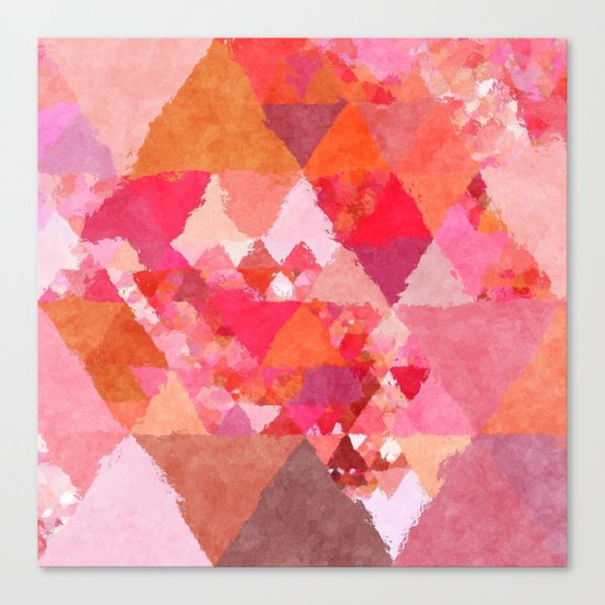 Into the heat - Pink and red watercolor Triangle pattern Canvas Print