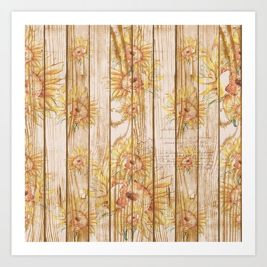 Vintage Sunflowers #9 Art Print