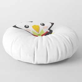 Christmas Penguins Tophat and Present Floor Pillow