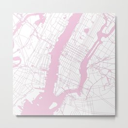 New York City White on Pink Metal Print