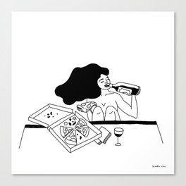 girl drinking wine eating pizza Canvas Print