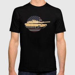 M1A1 Abrams Tank with American Flag T-shirt