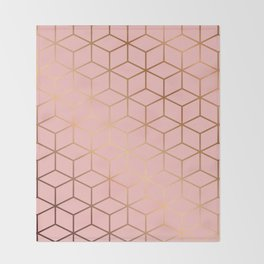 Pink and Gold Geometry 011 Throw Blanket
