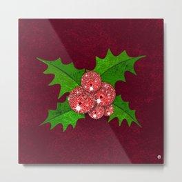 Sparkling Mistletoe Metal Print