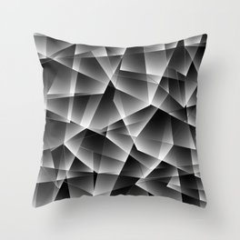 Metallic mosaic pattern of chaotic black and white fragments of glass, foil, glare and silver. Throw Pillow
