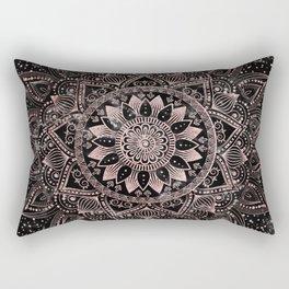 Elegant rose gold mandala dots and marble artwork Rectangular Pillow