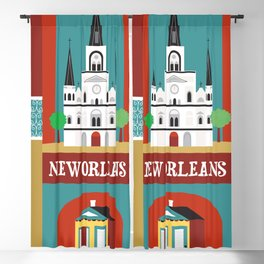 New Orleans, Louisiana - Collage Illustration by Loose Petals Blackout Curtain