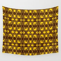 yellow pattern Wall Tapestries featuring yellow pattern by dedoma
