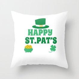 Happy St. Patrick's Day Leprechaun Pot Of Gold Throw Pillow