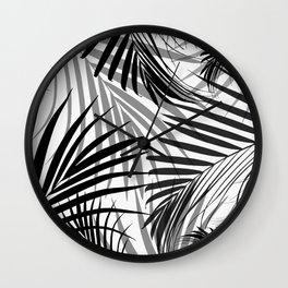 Black Palm Leaves Dream - Cali Summer Vibes #3 #tropical #decor #art #society6 Wall Clock