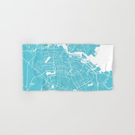 Amsterdam Turquoise on White Street Map Hand & Bath Towel