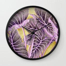 Purple Kalo Leaves Wall Clock