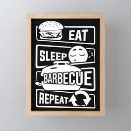 Eat Sleep Barbecue Repeat - Grill BBQ Smoker Framed Mini Art Print