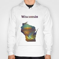 wisconsin Hoodies featuring Wisconsin Map by Roger Wedegis