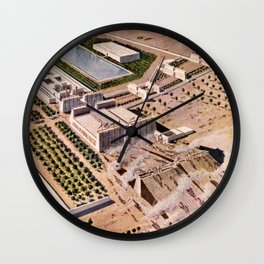 """Classical Masterpiece """"Egyptian Pylon Temple of Thebes"""" by Herbert Herget Wall Clock"""