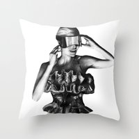 steve mcqueen Throw Pillows featuring McQueen by BrittanyJanet Illustration & Photography