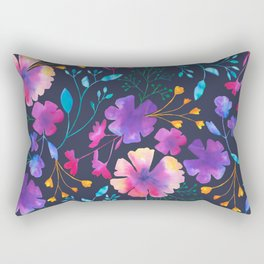 Fluro Floral Watercolour Flower Pattern Rectangular Pillow