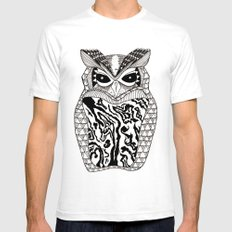 YMMY OWL SMALL White Mens Fitted Tee