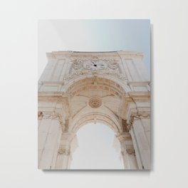 Lisbon beautiful architecture in the square | Summer vibes on vacation, Portugal | Travel photography Metal Print