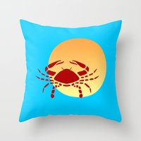 cancer Throw Pillows featuring Cancer by Geni