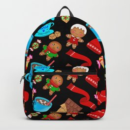 Cozy winter Christmas pattern. Happy gingerbread men, chocolate, hot cocoa, candy. Backpack