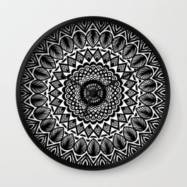Detailed Black and White Mandala Wall Clock