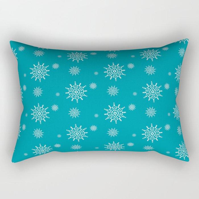 White Snowflakes on Turquoise Rectangular Pillow