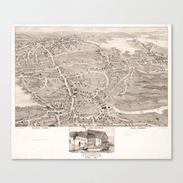 Vintage Pictorial Map of Weymouth MA (1880) Canvas Print