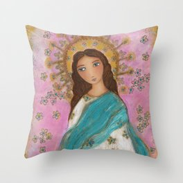 Immaculate Conception with Angels Throw Pillow