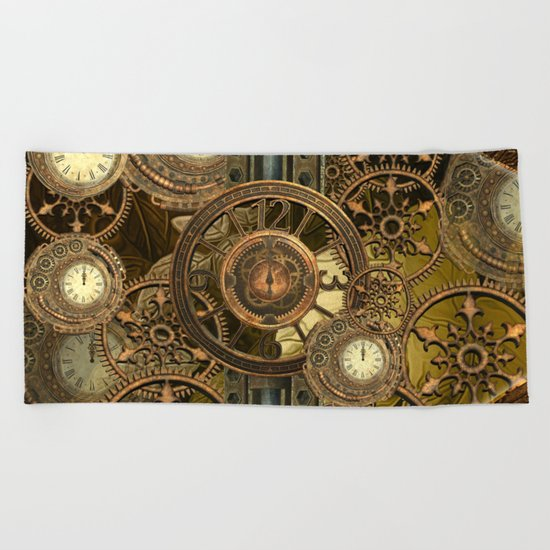 Steampunk, awesome clocks Beach Towel