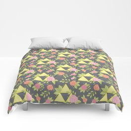 Garden of Power, Wisdom, and Courage Pattern in Grey Comforters