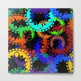 Texture of bright green and blue gears and laurel wreaths in kaleidoscope style on a black backgroun Metal Print