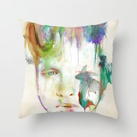 archan nair Throw Pillows featuring Organic by Archan Nair