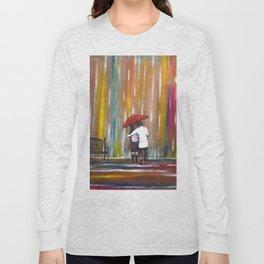 Love in the Rain romantic painting by Manjiri Kanvinde Long Sleeve T-shirt
