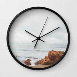 BEACH III (B+W) / Westport, CA Wall Clock