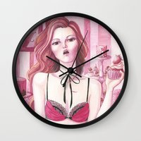 gemma Wall Clocks featuring Gemma: Girl and the cupcakes by Thien_Venus_Milo