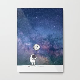 Cute Astronaut holding moon balloon with craters and stars cosmos background Metal Print