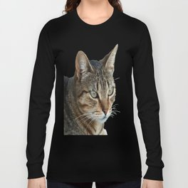 Stunning Tabby Cat Close Up Portrait Isolated Long Sleeve T-shirt