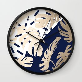 Simply Tropical Nautical Navy Memphis Palm Leaves Wall Clock