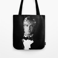 brad pitt Tote Bags featuring BRAD by THE USUAL DESIGNERS