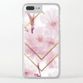 Cherry Blossoms Geometry Clear iPhone Case