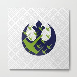 Wraith Squadron in Navy Pea and Light Gray Metal Print